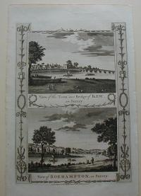 Thorton William: View of the Town and Bridge of Kew, in Surrey. View of  Roehampton, in Surrey