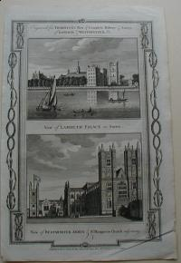 Thorton William: View of Lambeth Palace in Surrey. View of Westminster Abbey St. Margarets Church adjoining