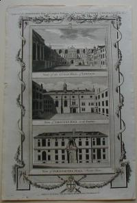 Thorton William: View of the Guild Hall of London. View of Grocers Hall , in the Poultry. View of Goldsmiths Hall Foster Lane
