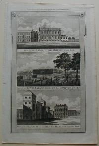 Thorton William: View of the Banqueting House, White Hall. View of the Royal Palace & Gardens, at Hampton Court. View of the Treasury & Horse Guards, in St. James's Park